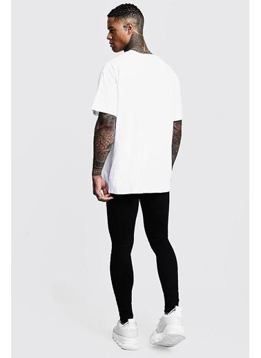 Oksit Man Imza Detaylı Oversize T-Shirt Beyaz